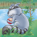Cuddly Critters (tm) cute cartoon animal character: Rascal Raccoon